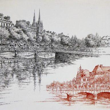 © Philippe MIGNÉ - Gravure - Quimper - 50 x 60 cm