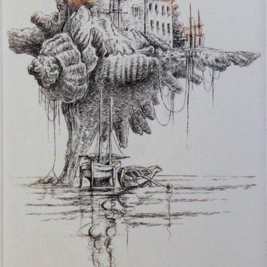 chateau-pont-l'abbe-gravure-eau-forte-philippe-migne