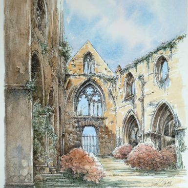 nef-fleurie-abbaye-beauport-aquarelle-philippe-migne