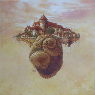 ville-ammonite-peinture-fossile-philippe-migne