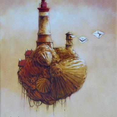 © Philippe MIGNÉ - Huile sur toile - Phare St-Jacques - 24 x 30 cm