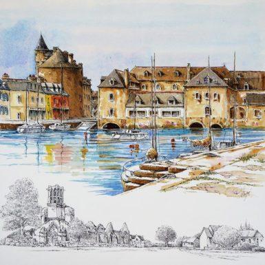 © Philippe MIGNÉ - aquarelle - Pont-l'Abbé - 50 x 60 cm