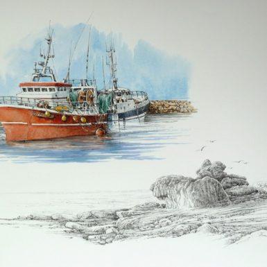chalutiers-rocher-st-guenole-aquarelle-philippe-migne